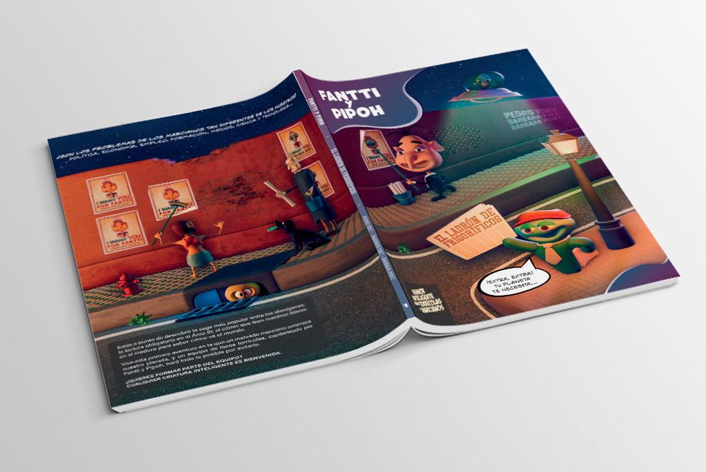 Diseño editorial del cómic en 3D Fantti y Pipoh