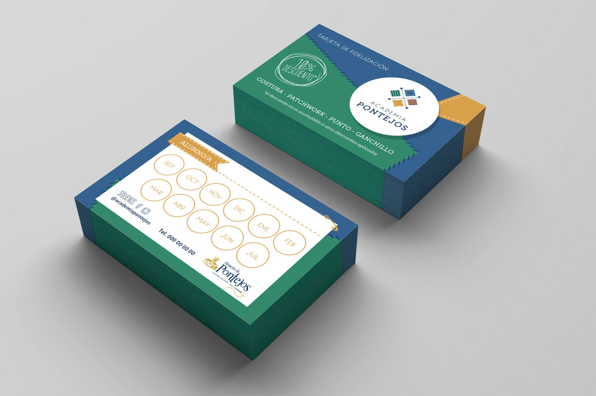 Diseño de tarjetas para Academia Pontejos
