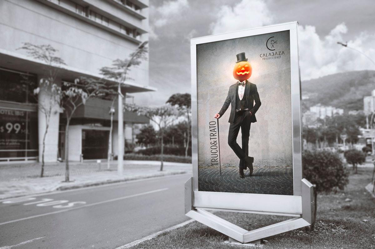 Diseño de carteles publicitarios - Naming para Calabaza Producciones - Productora de Cine