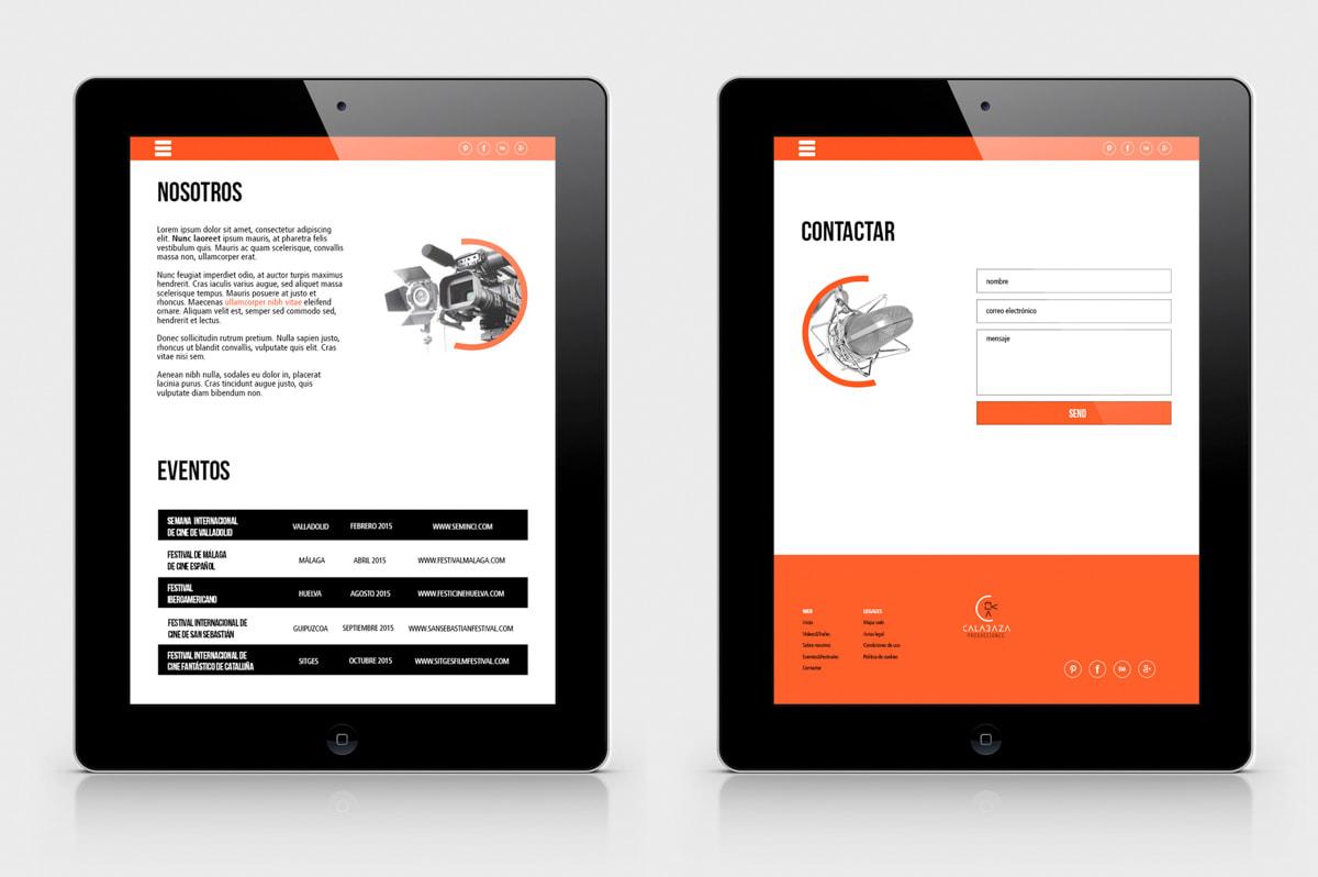 Creación de páginas web para Calabaza Producciones