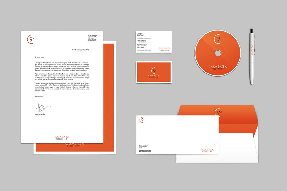 Diseño de Papelería corporativa para Calabaza Producciones