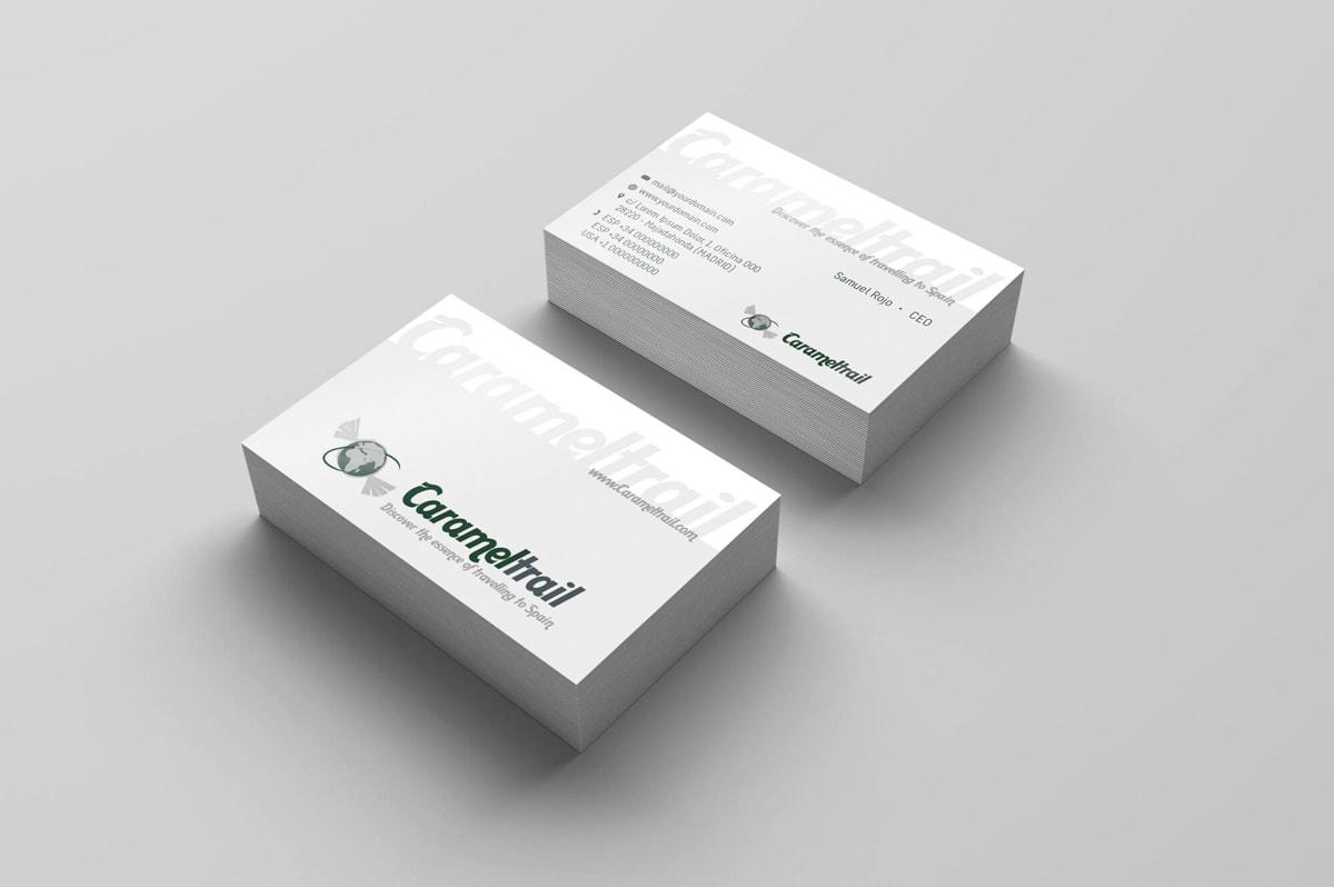 Diseño de tarjetas de visita para la Agencia de viajes Carameltrail