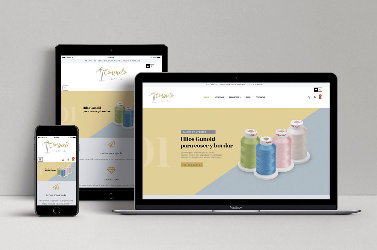 Diseño de Tienda online para Material Textil y de Bordado