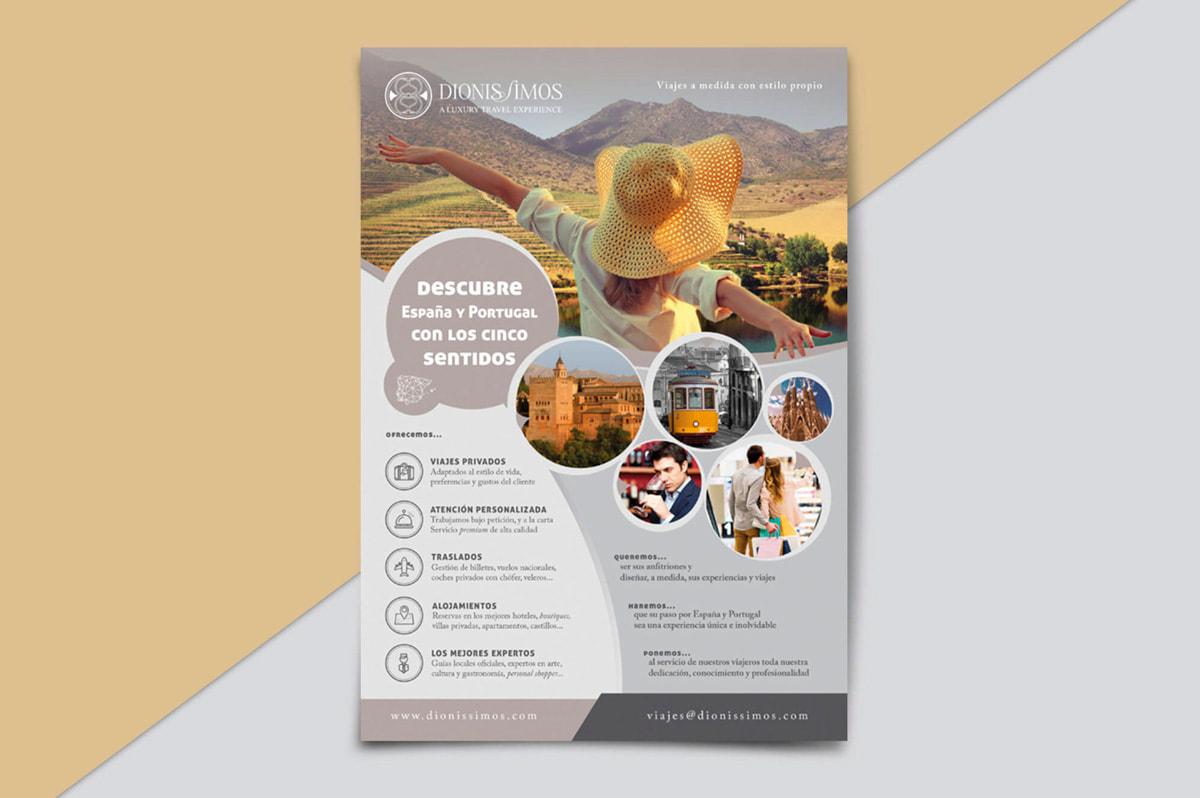 Diseño de flyer publicitario para la Agencia de Viajes Dionissimos