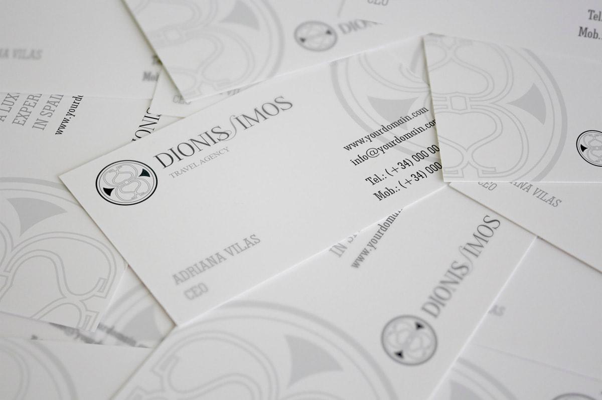 Diseño de tarjetas de visita para la Agencia de Viajes Dionissimos