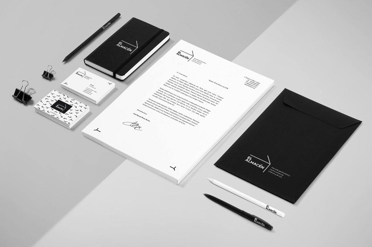 Diseño de sobres corporativos - Naming para El Almacén - Mercado gastronómico