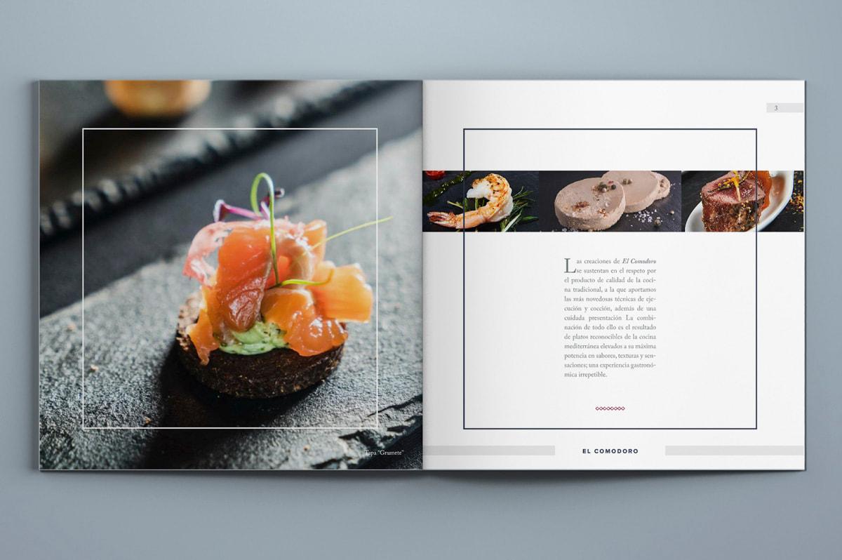 Diseño de menú para el Restaurante El Comodoro