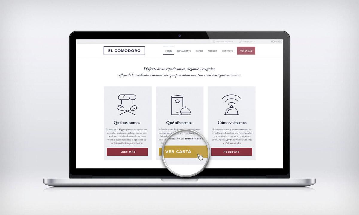 Diseño de páginas web WordPress para el Restaurante El Comodoro