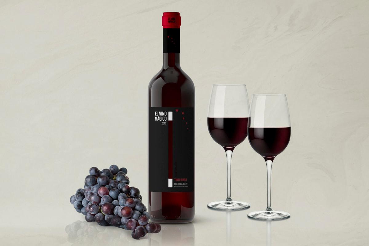 Etiquetas packaging - Etiqueta de vino para El Vino Mágico