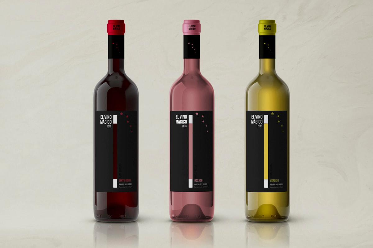 Diseño de etiquetas para productos - Etiqueta de vino para El Vino Mágico