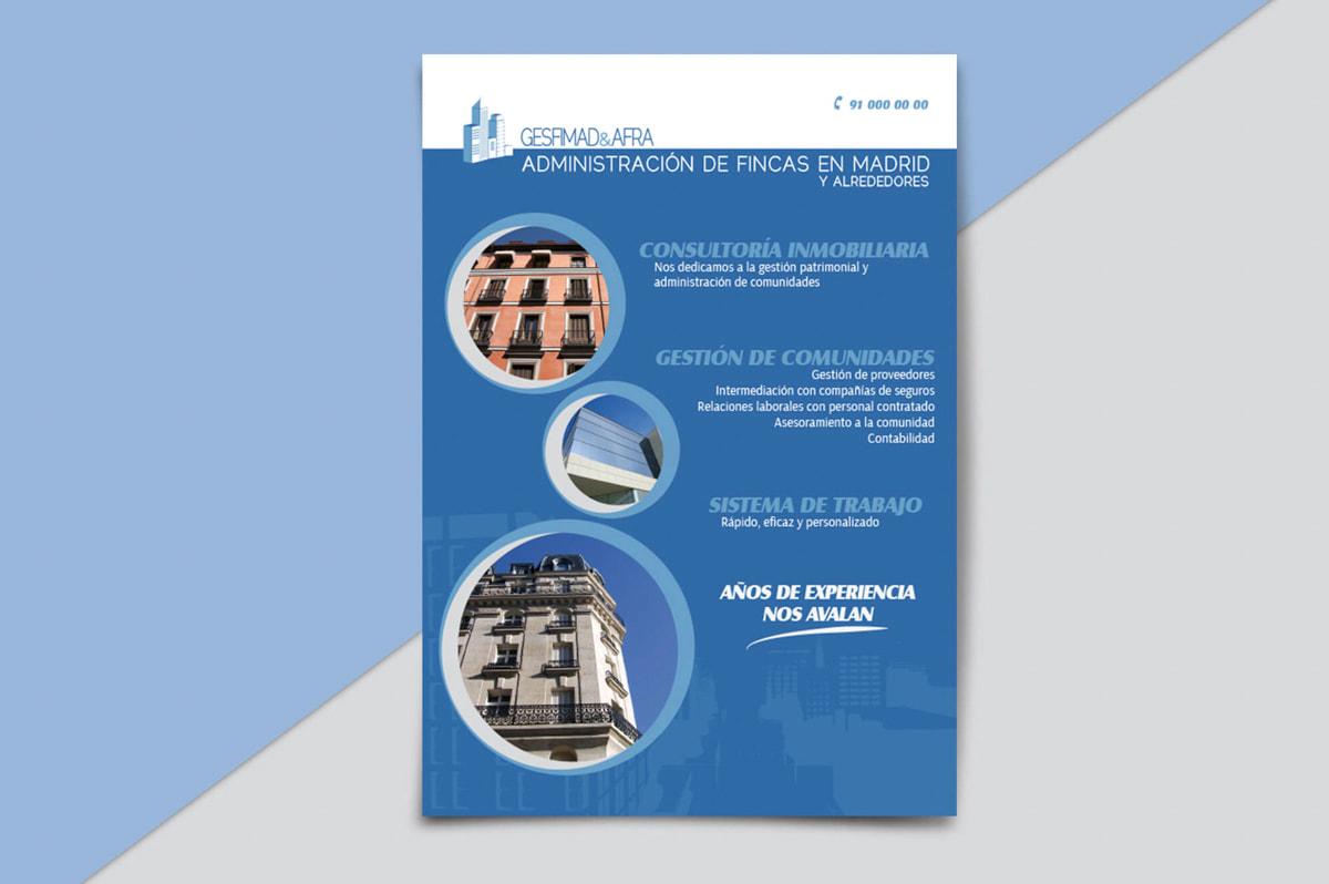 Diseño de Flyer publicitario para empresa de Administración de fincas
