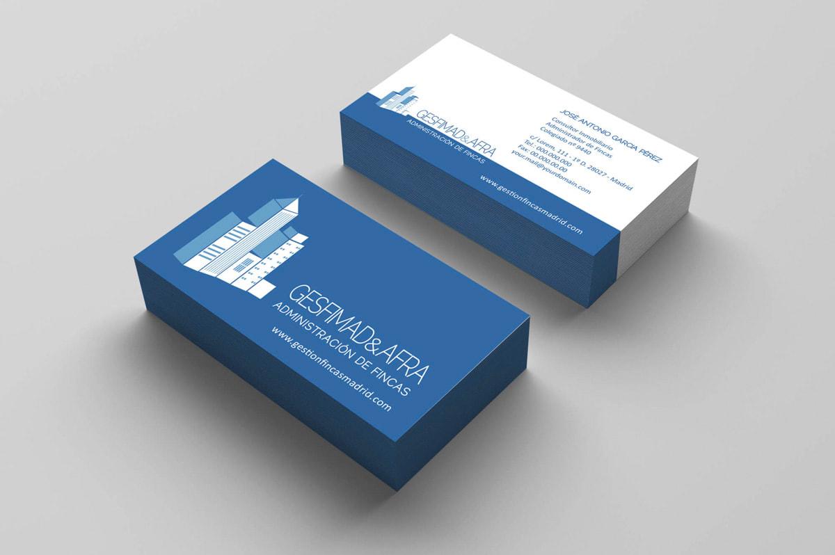 Diseño de tarjetas de visita para empresa de Administración de fincas