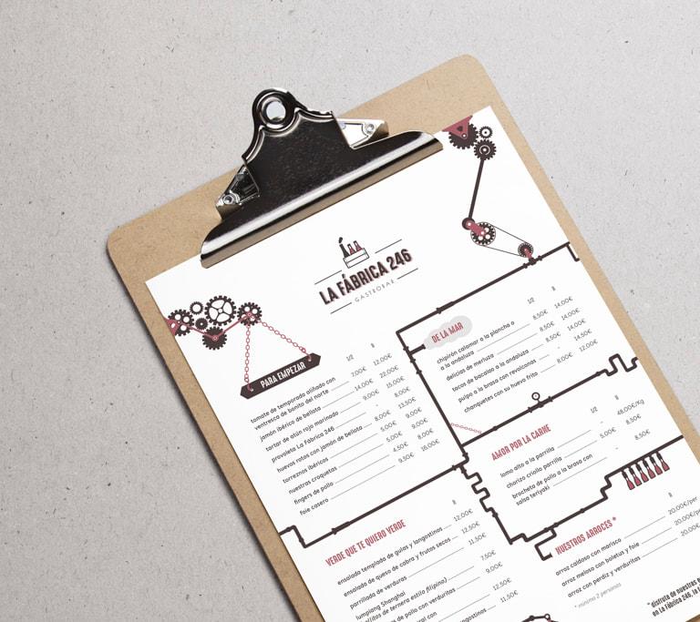 Diseño de cartas para el restaurante La Fábrica 246