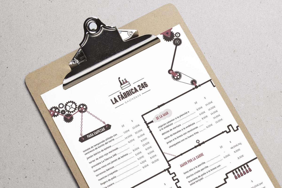 Precio diseño carta restaurante - Branding para La Fábrica 246 - Gastrobar