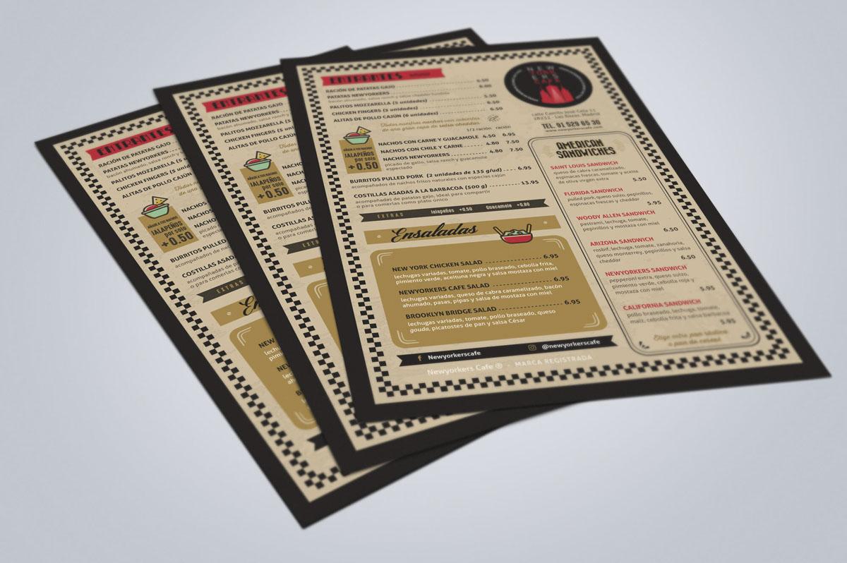 Diseño de cartas para cafetería-restaurante