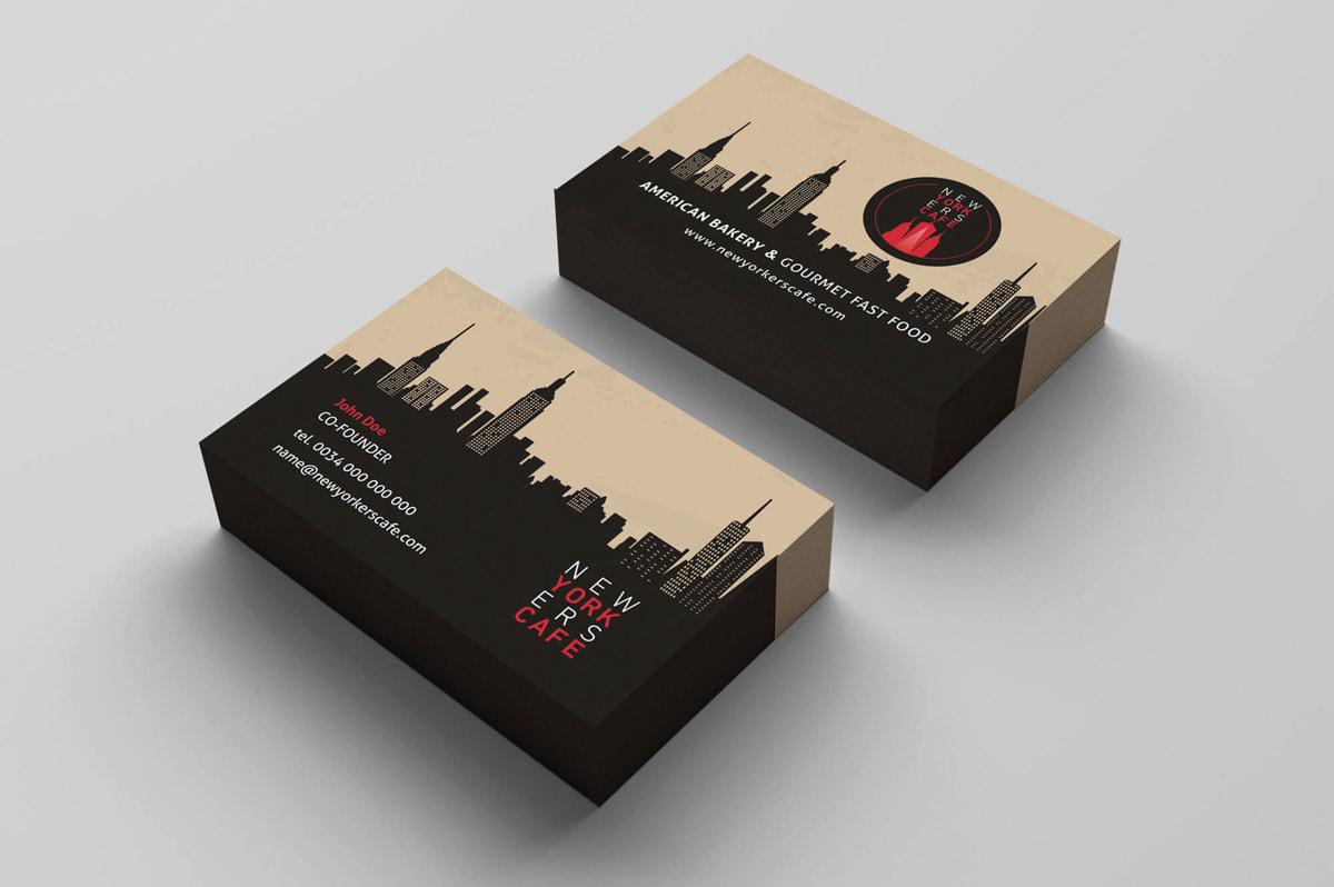 Diseño de tarjetas de visita para cafetería-restaurante