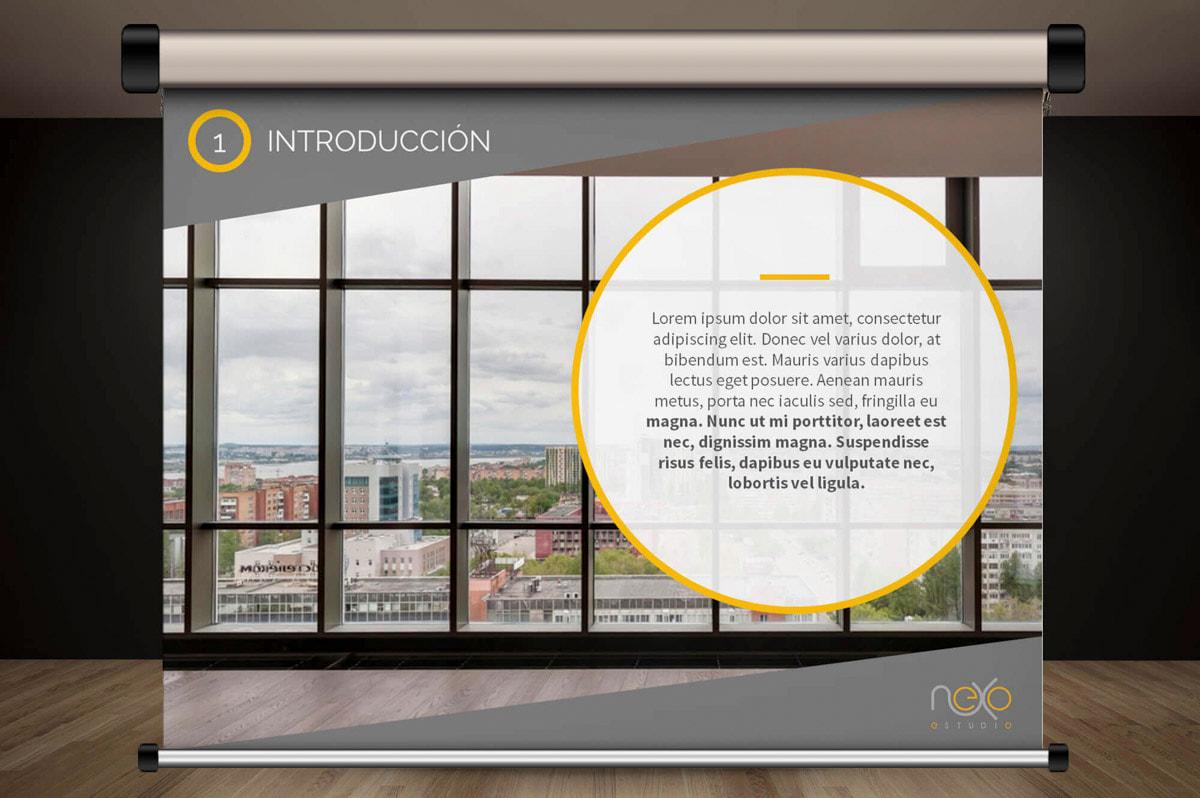 Diseño de presentaciones corporativas - Página web para Nexoestudio - Proyectos y obras