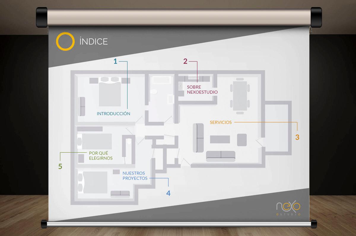 Diseño y comunicación gráfica - Página web para Nexoestudio - Proyectos y obras