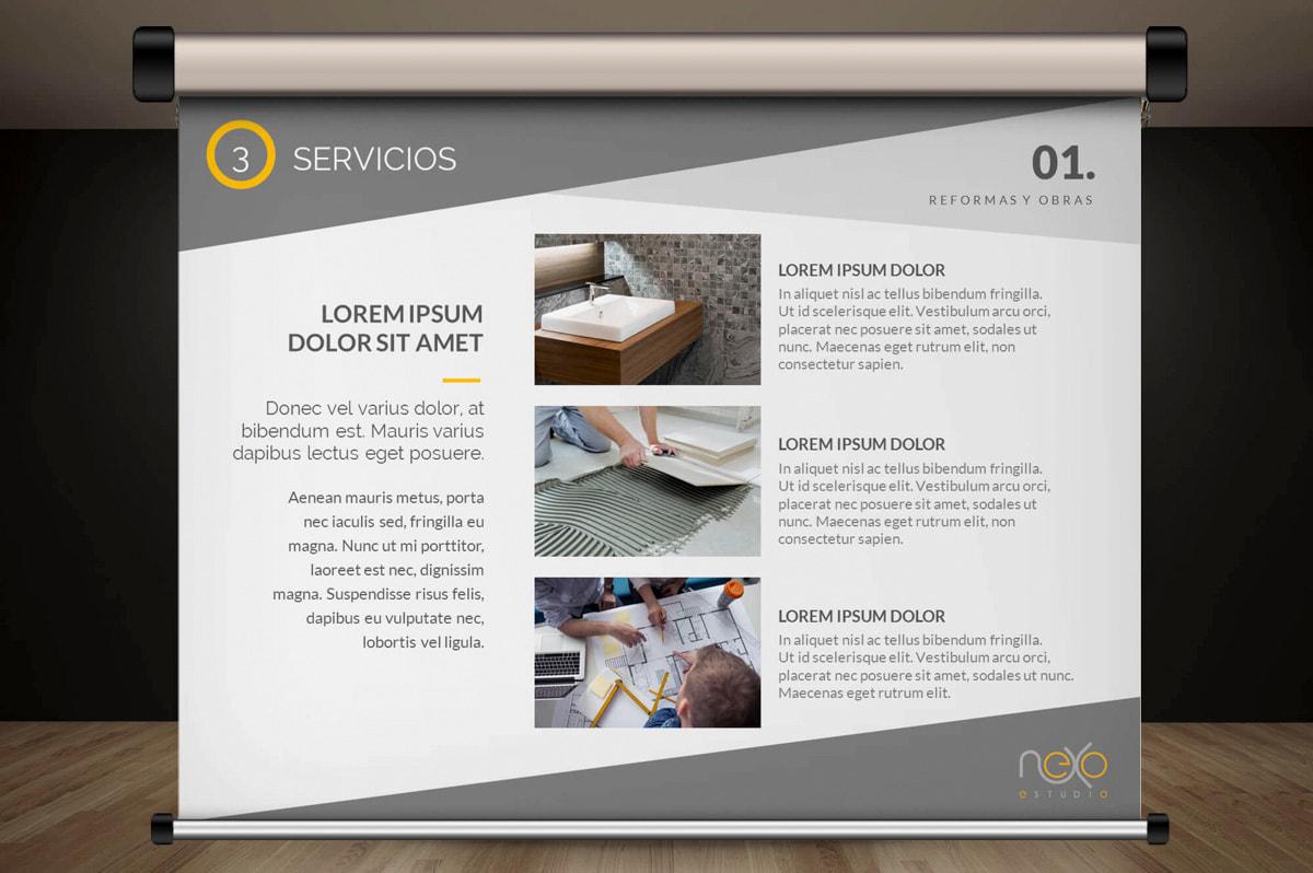 Comunicación gráfica publicitaria - Página web para Nexoestudio - Proyectos y obras
