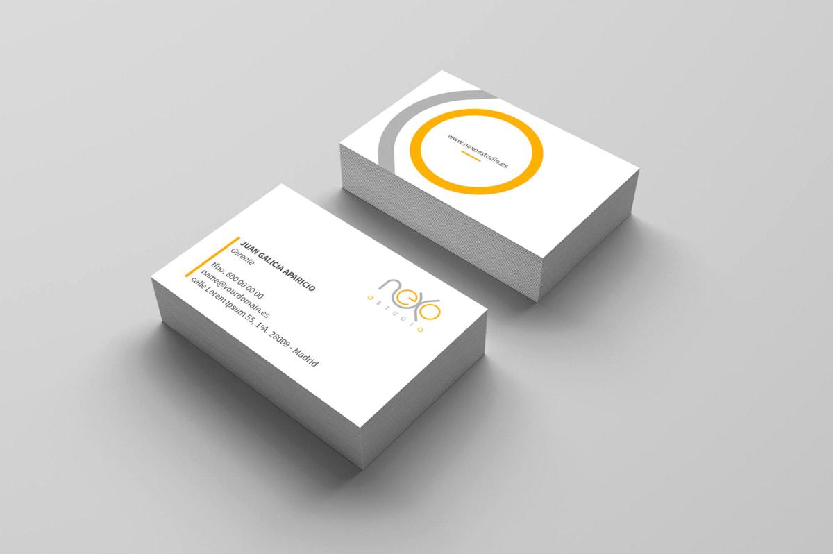 Diseño de tarjetas de visita - Página web para Nexoestudio - Proyectos y obras