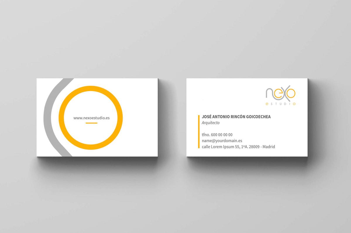 Diseño de tarjetas de visita originales - Página web para Nexoestudio - Proyectos y obras