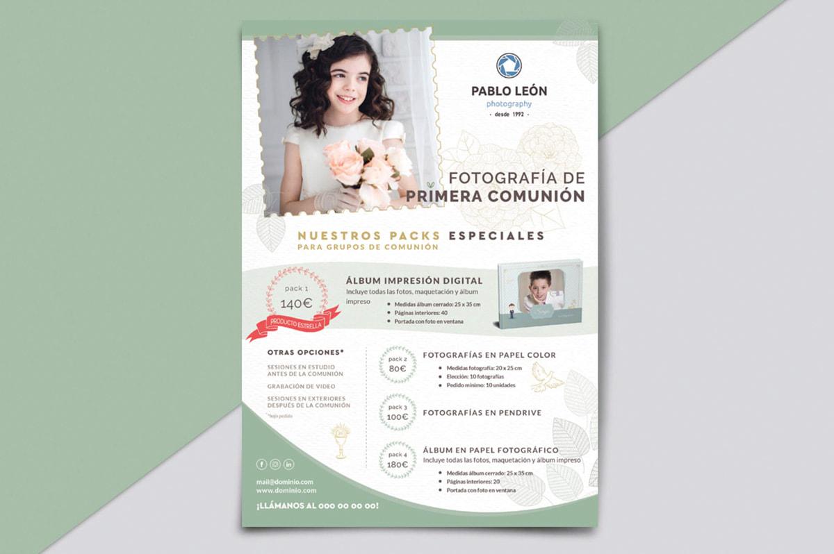Flyer de Diseño Gráfico - Comunicación Gráfica para Pablo León - Fotografía
