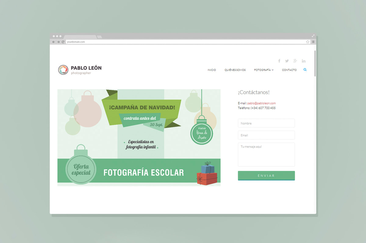Diseño landing page precio - Comunicación Gráfica para Pablo León - Fotografía