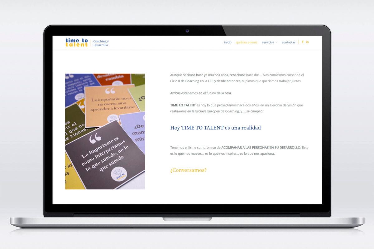 Página web para Time to talent - Coaching y desarrollo