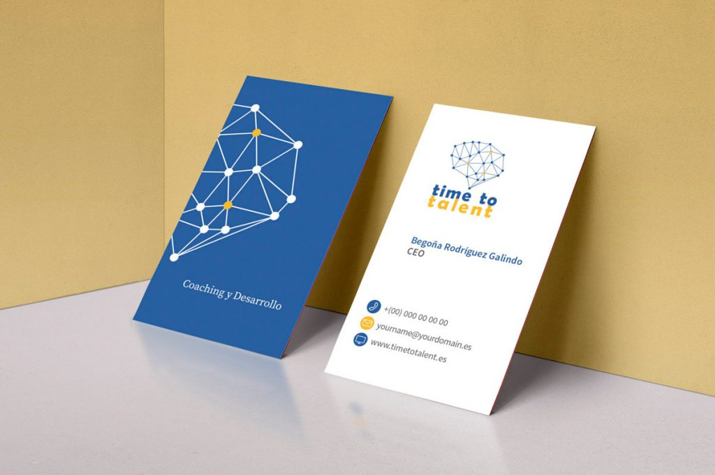 Diseño de tarjetas de visita originales - Página web para Time to talent - Coaching y desarrollo